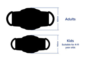 KIDS SINGLE FACE COVERING - Thank You Personal Antibacterial Fabric Face Covering / Soft Touch - Black or White