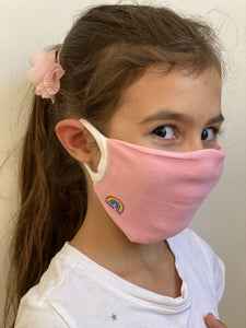 KIDS SINGLE FACE COVERING - Thank You Personal Antibacterial Fabric Face Covering / Soft Touch - Pink or Red