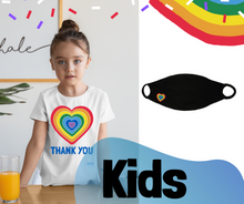 Load image into Gallery viewer, KIDS SINGLE FACE COVERING - Thank You Heart Personal Antibacterial Fabric Face Covering / Soft Touch - Black or White