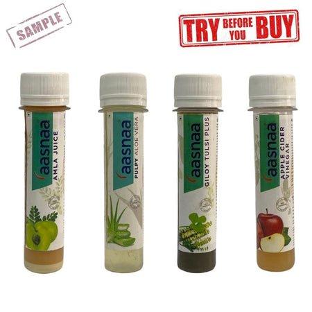 Amla + Aloe Vera + Giloy Tulsi+ ACV Samples (Shipping Fee Rs. 50)