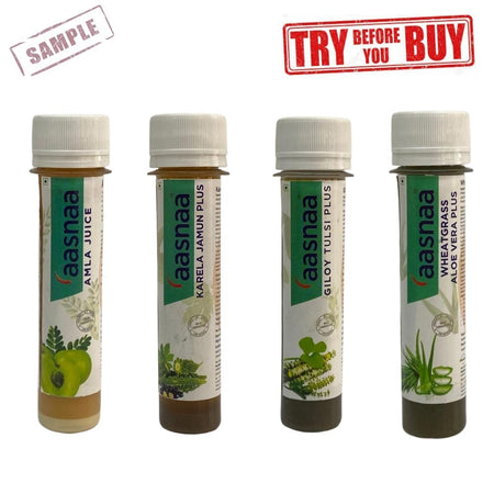 Amla + Karela + Giloy Tulsi+ Wheat Grass Samples (Shipping Fee Rs. 50)