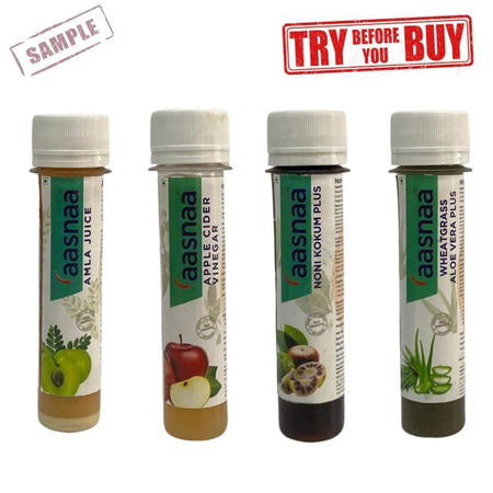 Amla + ACV + Noni Kokum+ Wheat Grass Samples (Shipping Fee Rs. 50)