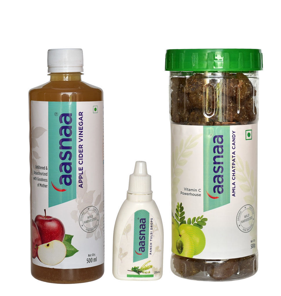 Launch Offer - Apple Cider Vinegar (ACV) with Mother 500ML+ Panch Tulsi Drops 25ML+ Chatpata Amla Candy 500GM