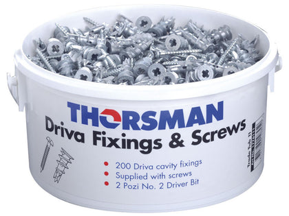 (200) Driva Cavity Fixings & Screws