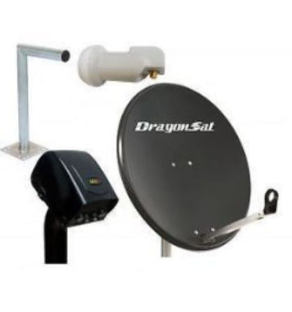 NEW Dragonsat 80cm Solid Satellite Dish + 400mm Bracket + Motor +Single LNB