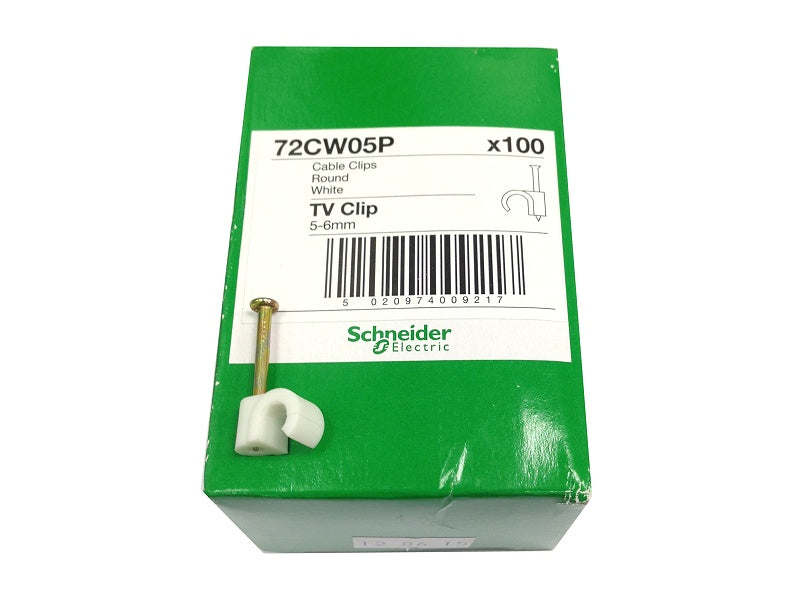 Tower (100) +5mm White Clips  For Cat5e-Rg58 Cable