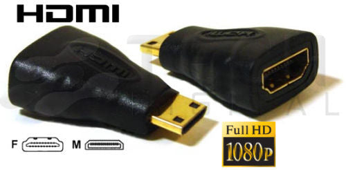 Gold Plated HDMI A Female to HDMI Mini C Male Connector