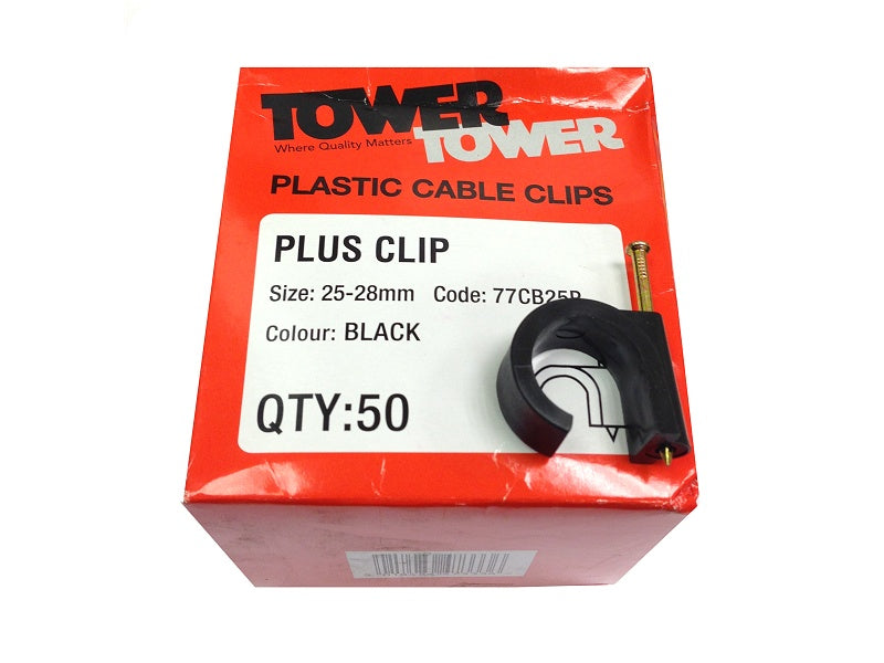 Tower (50) +25mm Black Clips