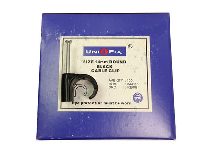 Uni-Fix (100) 14mm Black Cable Clips