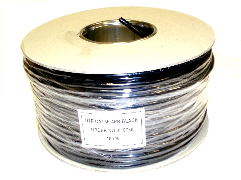100m WEBRO 100MHz CAT5e PE Black (Drum)