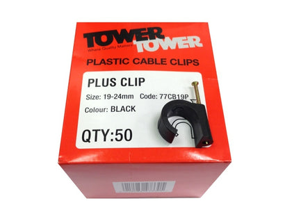(50) TOWER +19mm Black Clips