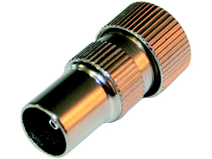 (1) BUDGET Coax Plug Male Brass Nickel