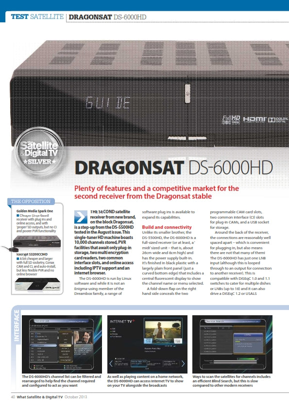 Dragonsat DS-6000HD Free to Air Full HD 1080p DVB-S2 Satellite Receiver LAN USB