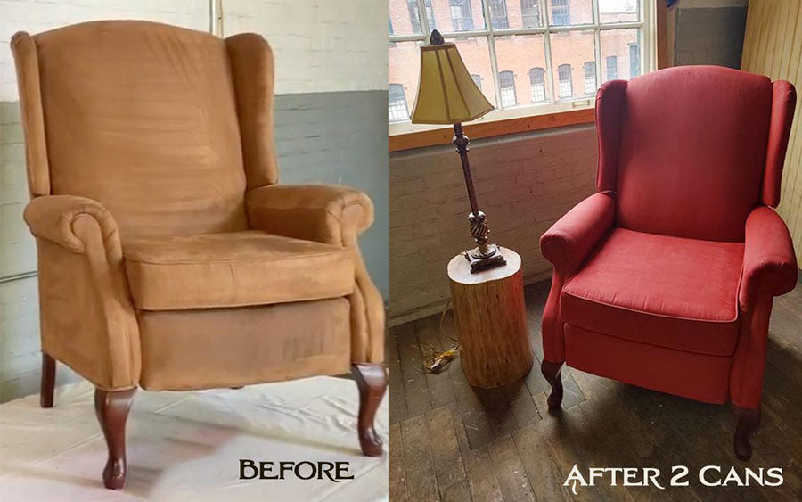Red Fabric Armchair Painted with Simply Spray Paint Dye