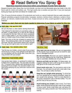 printed instructions for simply spray upholstery dye paint furniture cushions