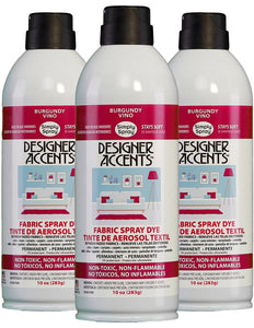 Three cans of simply spray burgundy fabric paint spray dye