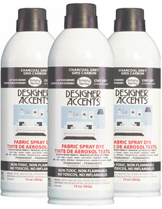 Three cans of simply spray charcoal grey fabric paint spray dye