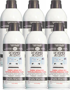 Six cans of simply spray charcoal grey fabric paint spray dye