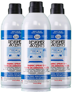 Three cans of simply spray navy blue fabric paint spray dye