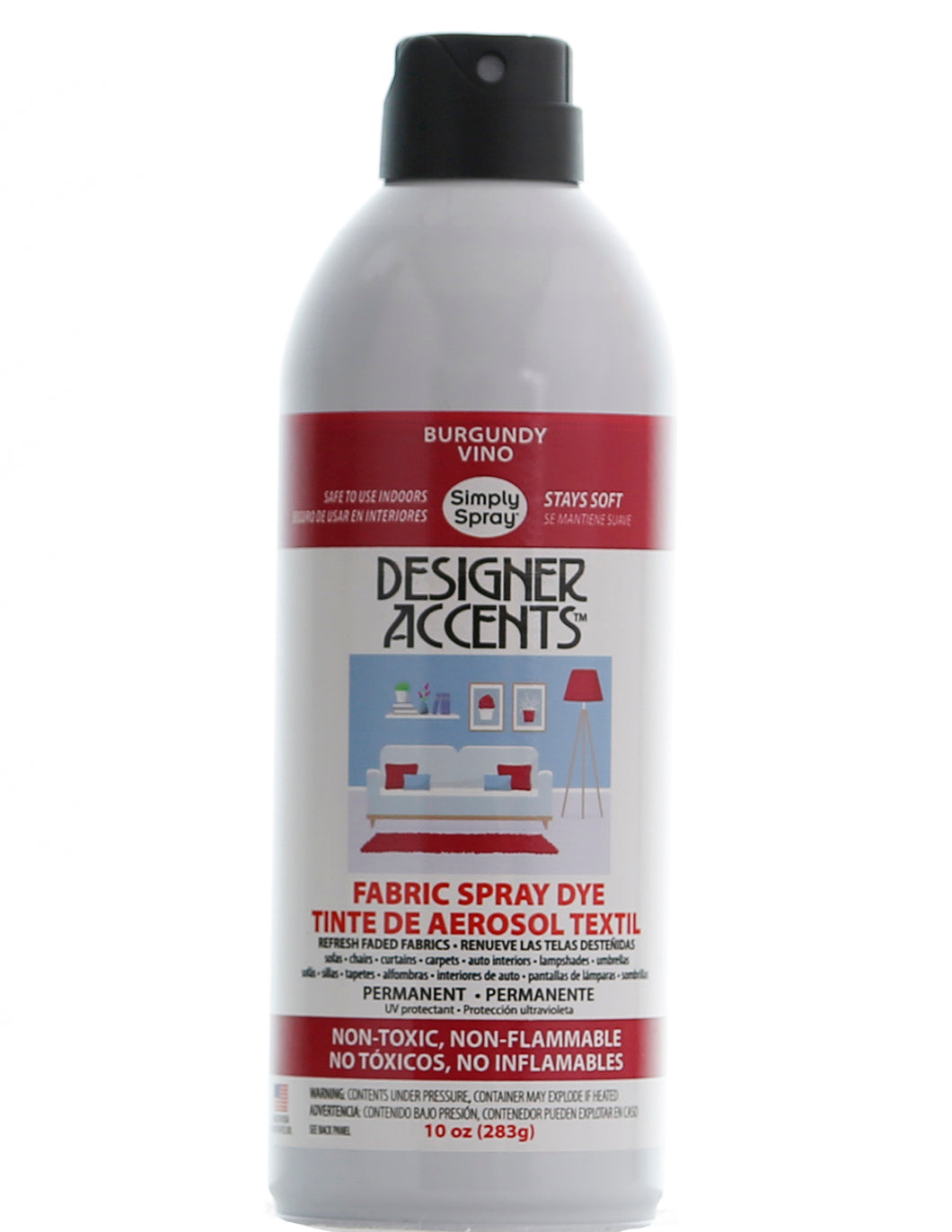 A single can of simply spray burgundy fabric paint spray dye