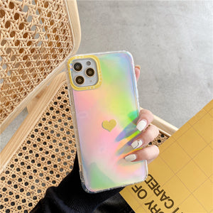 Iridescent Rainbow Heart Case