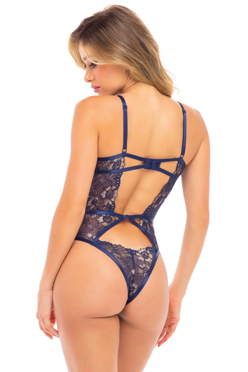 Oh là là Chéri Paris Desare Two Tone Lace & Strap Teddy