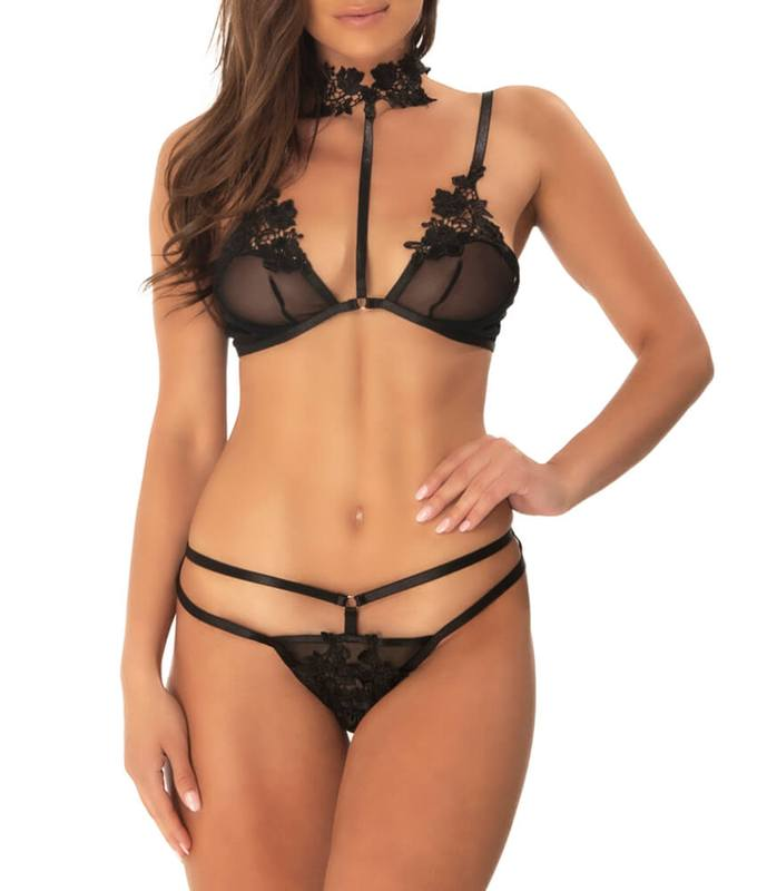 Oh Là Là Chéri Paris Aubrey 2 Pc Collar & Sheer Bralette Set