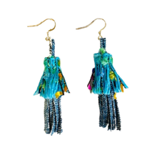 Load image into Gallery viewer, EARRINGS: BLUE FRINGE Handmade from Recycled Denim – Embroidered Fabric Pouch Included