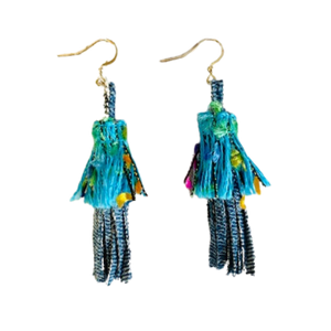 EARRINGS: BLUE FRINGE Handmade from Recycled Denim – Embroidered Fabric Pouch Included