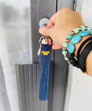 Load image into Gallery viewer, KEYCHAIN WITH BUTTERFLY - Wristlet Keychain Made from Upcycled Denim with Custom Butterfly Pin
