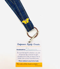 Load image into Gallery viewer, BUTTERFLY LANYARD – Made from Upcycled Denim with Custom Butterfly Pin * $18