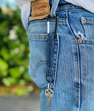 Load image into Gallery viewer, DENIM KEYCHAIN - MEN'S - With Key Ring and Carabiner * Gift for Dad *