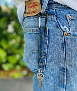 DENIM KEYCHAIN - MEN'S - With Key Ring and Carabiner * Gift for Dad *