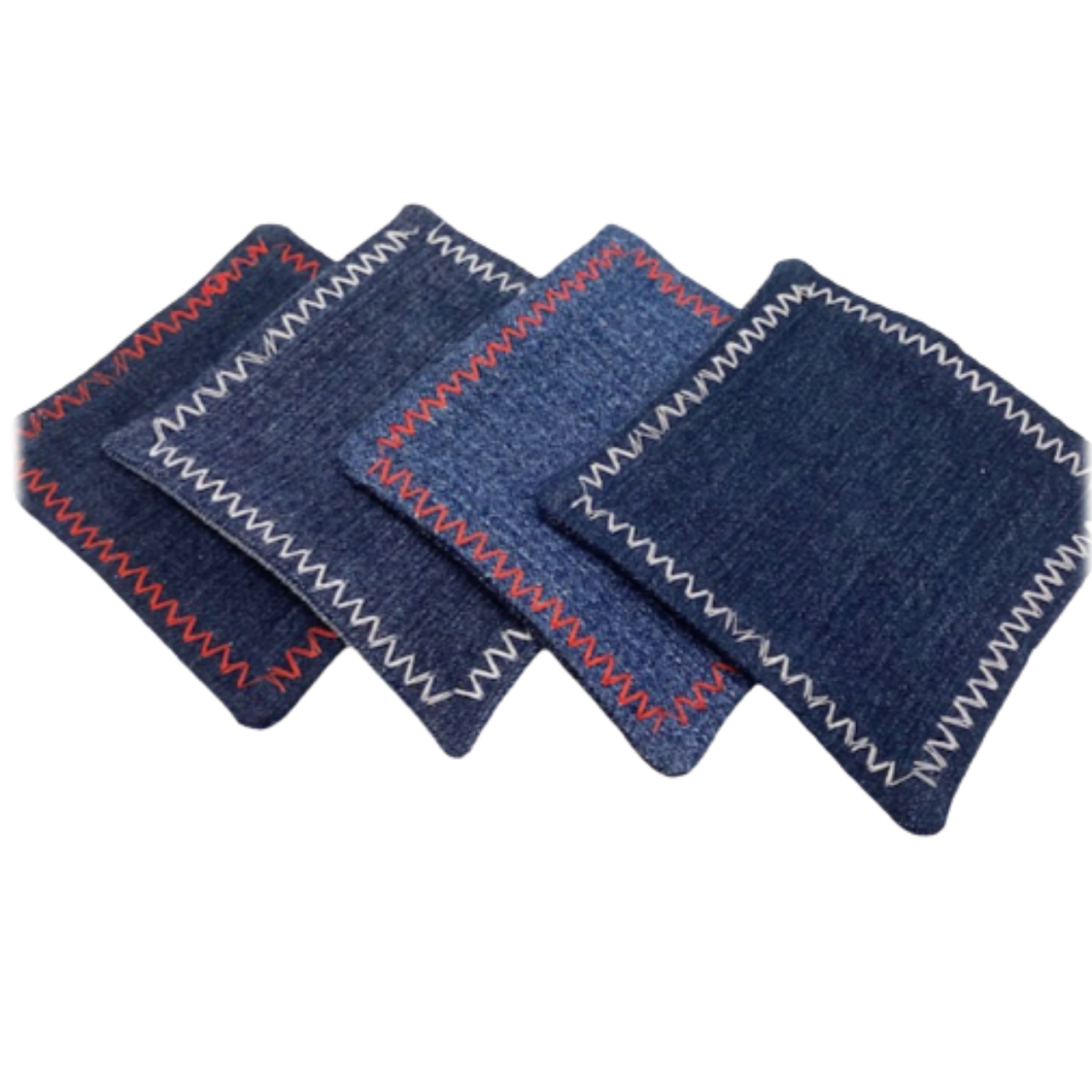 DENIM COASTERS -  Set of 4 - Housewarming gift – farmhouse style