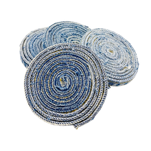 Load image into Gallery viewer, DRINK COASTERS: Set of 4 - Handcrafted from Jean Seams – *Perfect* Housewarming Gift