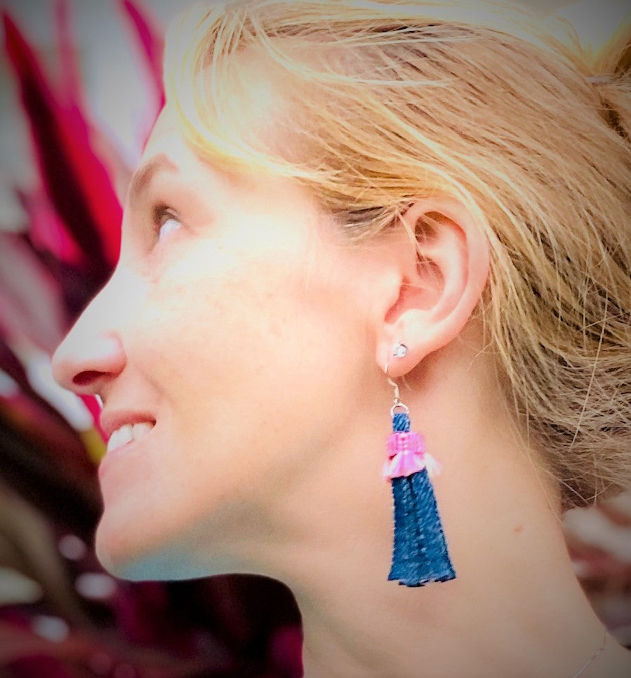 EARRINGS: PINK FRINGE - Handmade from Recycled Denim – Embroidered Fabric Butterfly Pouch Included - $25