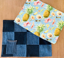 Load image into Gallery viewer, DENIM COASTERS – Set of 4 - Reversible – Tropical Print - housewarming gift