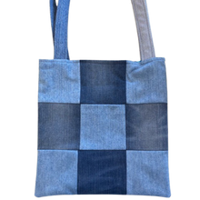 Load image into Gallery viewer, PATCHWORK TOTE BAG - Repurposed Denim - Patterned Lining