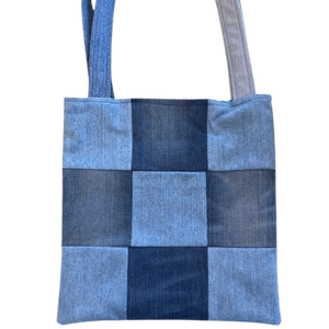 PATCHWORK TOTE BAG - Repurposed Denim - Patterned Lining