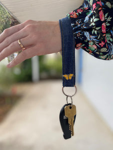 KEYCHAIN WITH BUTTERFLY - Wristlet Keychain Made from Upcycled Denim with Custom Butterfly Pin