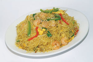 E42. Singapore Style Fried Vermicelli w/ Shrimp & BBQ Pork