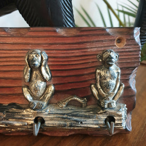 "Vintage ""No Evil"" Monkey Key Rack"