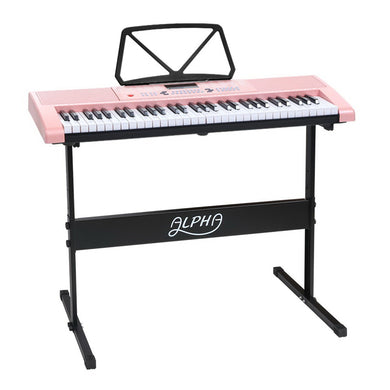 Alpha 61 Key Lighted Electronic Piano Keyboard LED Electric Holder Music Stand - Maddie & Jack's Playground