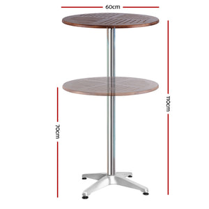 Outdoor Bar Table Wooden Cafe Table Aluminium Adjustable Round