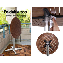 Load image into Gallery viewer, Outdoor Bar Table Wooden Cafe Table Aluminium Adjustable Round