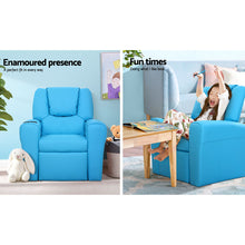 Load image into Gallery viewer, Artiss Kids PU Leather Reclining Armchair - Blue