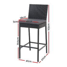 Load image into Gallery viewer, Gardeon Outdoor Bar Stools Dining Chairs Rattan Furniture X 2