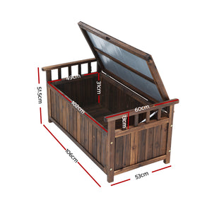 Gardeon Outdoor Storage Box Wooden Garden Bench Chest Toy Tool Sheds Furniture