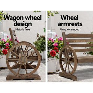 Gardeon Park Bench Wooden Wagon Chair Outdoor Garden Backyard Lounge Furniture
