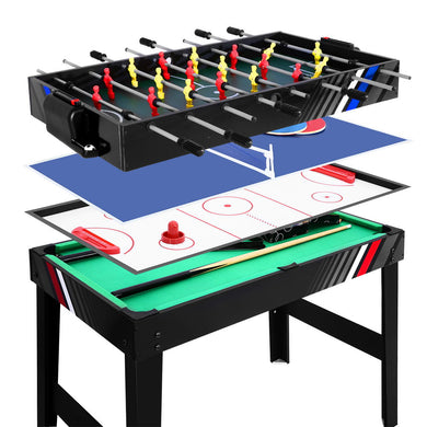 4FT 4-In-1 Soccer Table Tennis Ice Hockey Pool Game Football Foosball Kids Adult - Maddie & Jack's Playground